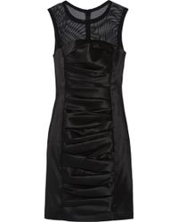 Vera Wang Meshpaneled Satintwill Dress - Lyst