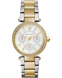 Michael Kors Women'S Chronograph Mini Parker Two-Tone Stainless Steel Bracelet Watch 33Mm Mk6055 - Lyst