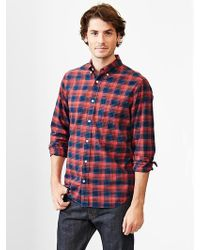 Gap Lived-in Wash Lightweight Twill Plaid Shirt - Lyst