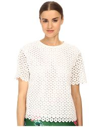 Kate Spade Guipure Lace Scallop Top - Lyst