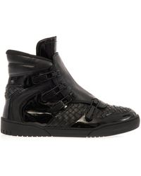 Bottega Veneta Intrecciato Leather Hightop Trainers - Lyst