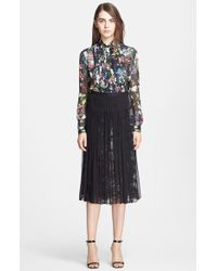 McQ by Alexander McQueen Festival Floral Pleated Silk Shirt floral - Lyst