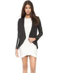 Blaque Label - Leather Sleeve Jacket - White/Black - Lyst