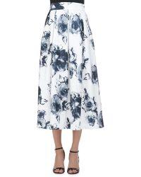 Carmen Marc Valvo - Floral Jacquard Pleated Midi Party Skirt - Lyst