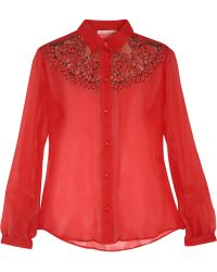 Christopher Kane Silk-georgette and Lace Shirt - Lyst