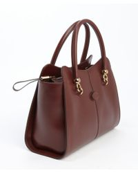 Tod's Brown Leather Small Top Handle Tote - Lyst