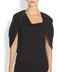 Donna Karan New York Layered Crepe Capelet Top - Lyst