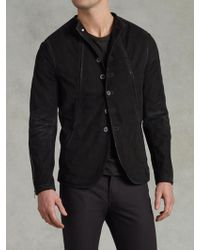 John Varvatos Funnel Neck Leather Jacket - Lyst