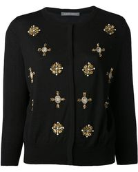 Alberta Ferretti Jeweled Cardigan - Lyst