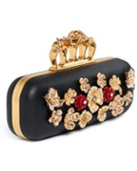 Alexander McQueen Metal Flower Skull Knuckle Leather Box Clutch - Lyst