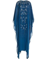 Roberto Cavalli Embellished Silk Maxi-Dress blue - Lyst