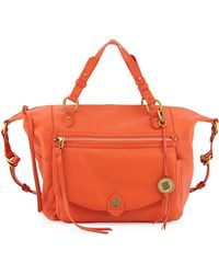 Elliott Lucca - Camara Smooth Leather Logo Satchel Burnt Orange - Lyst