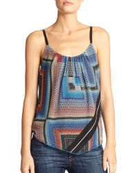 Twelfth Street Cynthia Vincent Leather-Strap Printed Silk Camisole - Lyst