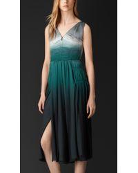 Burberry Silk Deep V-Neck Dress - Lyst