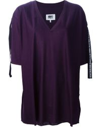 MM6 by Maison Martin Margiela Oversize V-Neck T-Shirt - Lyst