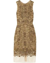 Vera Wang Embroidered Lace Dress - Lyst
