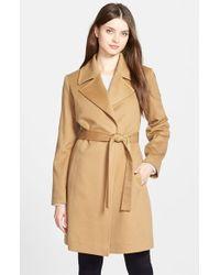 Fleurette - Notch Collar Lightweight Cashmere Wrap Coat - Lyst