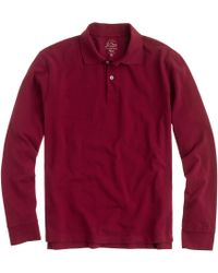 J.Crew Slim Long-Sleeve Classic Piqué Polo Shirt - Lyst
