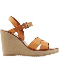 A.P.C. Leather Sandals With Suede Wedge - Lyst