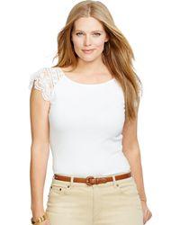 Ralph Lauren Lace-Sleeved Cotton Top - Lyst