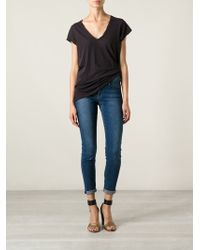 James Perse Deep Vneck Tshirt - Lyst