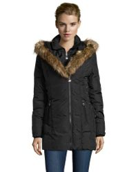 Betsey Johnson Black Down Filled Faux Fur Hooded Coat - Lyst