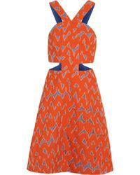 Markus Lupfer Lyla Cutout Cotton-blend Jacquard Mini Dress - Lyst