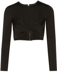 Balmain Cropped Stretch-Jersey Top - Lyst