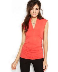 Vince Camuto Sleeveless Ruched V-Neck Top - Lyst