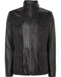 Armani Four Pocket Leather Jacket - Lyst