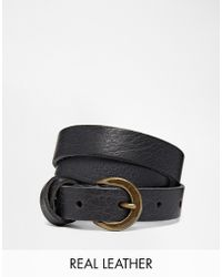 Asos Leather Waist Belt With Cross Detail - Lyst