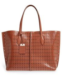 Tod's 'Joy' Laser Perforated Leather Tote brown - Lyst