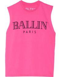 Brian Lichtenberg - Ballin Printed Cotton-jersey Tank - Lyst