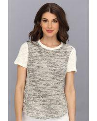 Rebecca Taylor Short Sleeve Tweed Top - Lyst