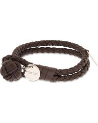 Bottega Veneta Double Woven Leather Bracelet - For Women brown - Lyst