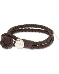 Bottega Veneta Double Woven Leather Bracelet Ebano - Lyst