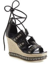 Alexander McQueen Women'S Studded Leather Wedge Sandal - Lyst