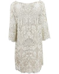 Marchesa Embroidered Lace Cocktail Shift Dress - Lyst