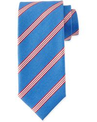 Massimo Bizzocchi - Textured Narrow-stripe Silk Tie - Lyst