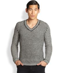 Versace Wool Vneck Sweater - Lyst