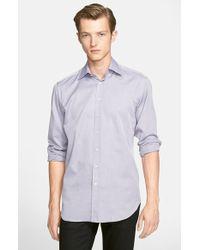 Etro Trim Fit Textured Sport Shirt blue - Lyst