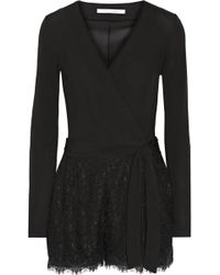 Diane von Furstenberg - Tillie Wrap-effect Jersey And Corded Lace Playsuit - Lyst