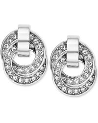 Michael Kors Silvertone Crystal Pavè Interlocked Ring Drop Earrings - Lyst