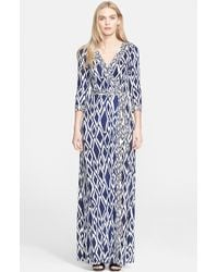 Diane von Furstenberg Women'S 'Julian' Long Silk Wrap Dress - Lyst