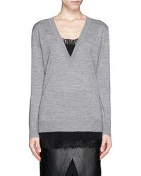 Sandro Sade Silk Lace Trim Sweater - Lyst