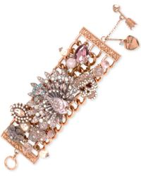 Betsey Johnson Rose Gold-tone Wide Toggle Bracelet - Lyst