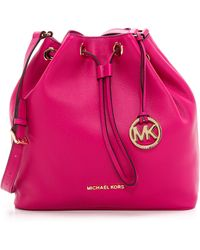 MICHAEL Michael Kors - Jules Large Drawstring Bucket Bag - Fuschia - Lyst
