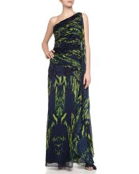 Halston Heritage One-Shoulder Printed Gown - Lyst