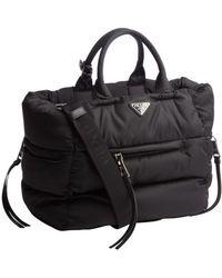 Prada Black Quilted Top Handle Bag - Lyst