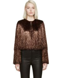 Givenchy Brown Metallic Thread Fringe Jacket - Lyst